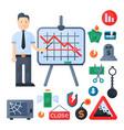 crisis symbols concept problem economy banking vector image vector image