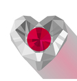 Crystal gem jewelry Japanese heart with the flag vector image vector image