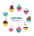 cupcakes smileys collection vector image vector image