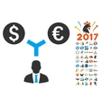 Currency Management Icon With 2017 Year Bonus vector image vector image