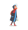 cute smiling girl in winter clothing walking with vector image vector image