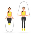 fit girl doing exercises with jumping rope woman vector image vector image