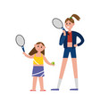 happy mother playing tennis with her daughter vector image vector image