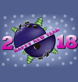happy new year 2018 and bowling ball vector image