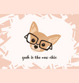 head of adorable dog wearing glasses and geek is vector image vector image