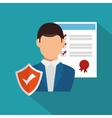icon agent insurance security design vector image