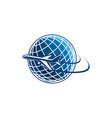 icon plane and world globe vector image vector image