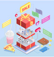 isometric shopping sale composition vector image vector image