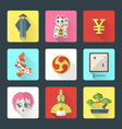 japan theme flat style icons set vector image vector image