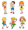 Kids in different actions set vector image