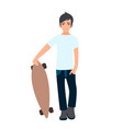 male asian college student standing with longboard vector image