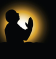 man praying black silhouette vector image