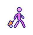 moving man with suitcase on wheels icon vector image vector image