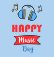 music day celebration greeting card vector image vector image