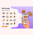 order foods online from app smart phone fast vector image