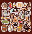 pirate stickers icons collection adventure vector image