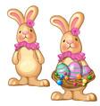 rabbit holding basket easter eggs vector image