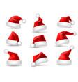 realistic santa hats santa claus christmas vector image vector image