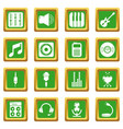 recording studio symbols icons set green square vector image vector image