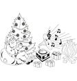 Santa Claus listening to music vector image