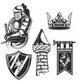 set knights elements vector image