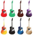 Set of colored acoustic guitars arranged in 2 rows vector image vector image