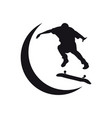 silhouette skate board logo vector image vector image