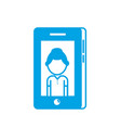 silhouette smartphone technology with man picture vector image vector image