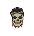 skull charactre with blood stains cap vintage vector image vector image