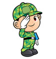 soldier character military salute isolated on vector image