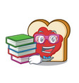 student with book bread with jam mascot cartoon vector image