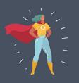 Superhero woman standing on dark background