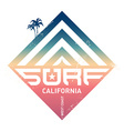 Surfing vintage label California west coast vector image vector image