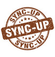 sync-up brown grunge stamp vector image vector image