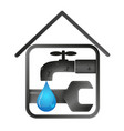 water tap and wrench in house vector image vector image