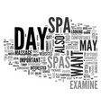 what to look for in a day spa text word cloud vector image vector image