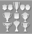 winner set cup trophy cut from paper vector image