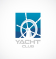 Yacht club logo template Helm sign vector image vector image
