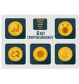 set of different cryptocurrency flat style vector image