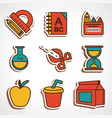 a set of colored school icons vector image