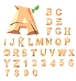 Wooden alphabet blocks with letters and numbers vector image