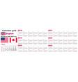 american calendar standard us english language vector image vector image