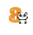 birthday anniversary number with cute panda vector image vector image