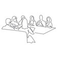 business team meeting continuous line drawing vector image vector image