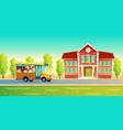 cartoon kids back to school on yellow bus vector image vector image
