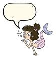 cartoon pretty mermaid with speech bubble vector image vector image