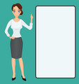cartoon woman clip-art presenting finger raised up vector image vector image