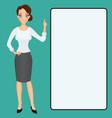 cartoon woman clip-art presenting finger raised up vector image vector image