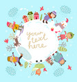 children winter background vector image