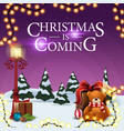christmas is coming square purple postcard with vector image vector image